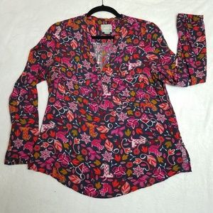 Anthropologie Maeve moonflower Henley blouse